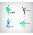 set origami man logos human men sport vector image