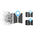shredded dot halftone paper map icon vector image vector image