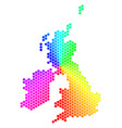 spectrum hexagon great britain and ireland map vector image vector image