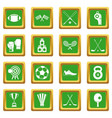 sport equipment icons set green vector image vector image