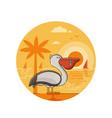 summer pelican seaside icon in line art vector image