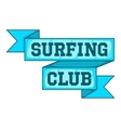 Surf club emblem icon cartoon style vector image