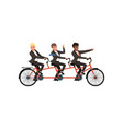 three cheerful men in black classic suits riding vector image