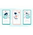 virtual doctor onboarding mobile app page screens vector image vector image