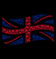 waving uk flag pattern of home icons vector image vector image