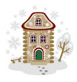 winter card with gingerbread house image vector image
