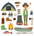 traveler man with backpack and set of camping vector image