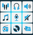 audio colored icons set collection of headset vector image