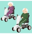 Senior Lady and Man on a Mobility Scooter Elderly vector image