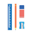 school stationery wooden pencil sharpener ruler vector image