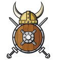 viking helmet shield and crossed swords vector image