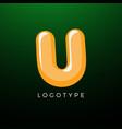 3d playful letter u kids and joy style symbol vector image vector image