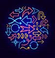 arrow neon concept vector image vector image