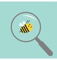 Bee under magnifier zoom lense Flat design vector image vector image