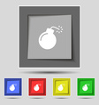bomb icon sign on original five colored buttons vector image vector image