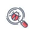 bug in magnifying glass - modern line dsign vector image