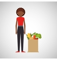 cartoon girl afroamerican grocery bag vegetables vector image vector image