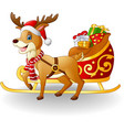 cartoon reindeer with christmas sled sleigh and pr vector image vector image