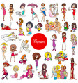 cartoon women characters large set vector image
