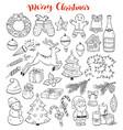 christmas doodles collection vector image