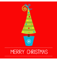 Christmas tree in pot Merry Christmas card vector image vector image