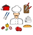 Cook or chef with food and kitchenware vector image