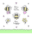 cute bees set vector image