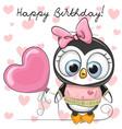 cute cartoon penguin girl with a balloon vector image vector image