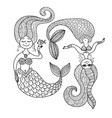 cute mermaids for your design vector image vector image