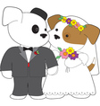 cute puppy marriage vector image vector image