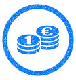 Euro coin columns rounded icon rubber stamp vector image