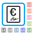 euro signed contract framed icon vector image