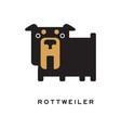 flat cartoon rottweiler character standing vector image vector image