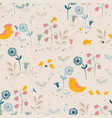 floral pattern with flowers and chicks vector image vector image
