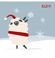 Funny sheep santa symbol of new year 2015 vector image