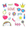 girl patches sticker color set vector image vector image