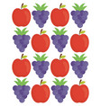 grapes and apple fresh fruits pattern vector image