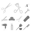 hairdresser and tools monochrome icons in set vector image vector image