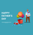 happy father day family holiday dad hold beer vector image