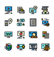 line online training icons vector image