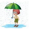 little boy standing in rain vector image vector image