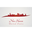 New Haven skyline in red vector image vector image
