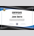 official white certificate with black blue vector image vector image