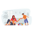 parent playing with children happy family leisure vector image vector image