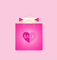 pink shopping bag with heart vector image vector image