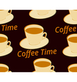Seamless pattern with cup of coffee on a saucer vector image vector image