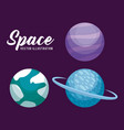 set of planets space universe icon vector image