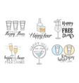 set original logos for cocktail bar vector image
