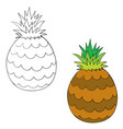 set pineapple painted with black lines vector image vector image