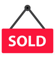sold icon on white background flat style sold vector image vector image